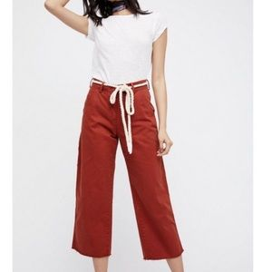 SALE FREE PEOPLE Rust Carpenter cropped pants